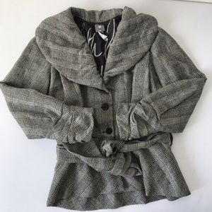 Lilith France Gray Houndstooth Plaid Wool Jacket
